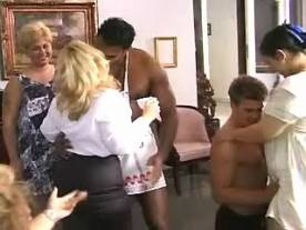 Mature fatties in crazy sex party