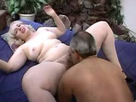 Horny chubby blonde in threesome