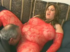 Guys share busty fat chick in red