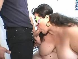 Giant longhaired woman in gangbang