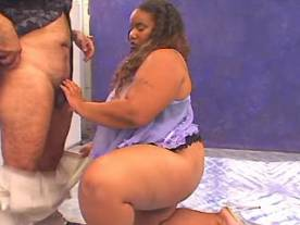 Megabusty ebony fatty sucks and fucks