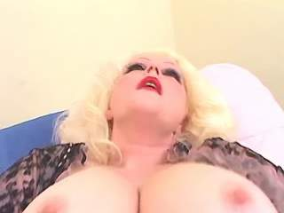 Blonde mature BBW in stockings solo