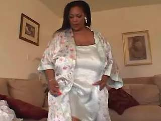 Massive ebony mom tries on lingerie