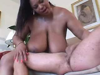 Huge ebony mom with big boobs eats cum
