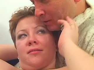 Chubby woman with big tits seduces man