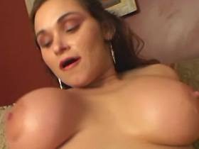 Chubby babe with melon size boobs solo