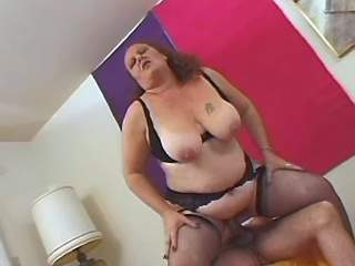 Man drills mature fatty in lingerie