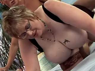 Sexy fat lady gets cum on huge tits