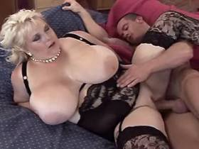Busty BBW in black lingerie drilled