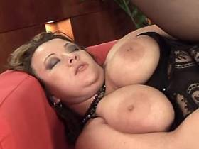 Sweet fat milf gets cum on big tits