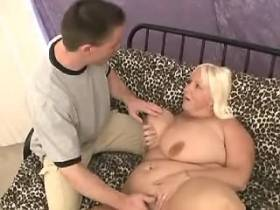 Megabusty chubby blonde gets fucked