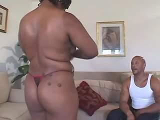 Bald guy fucks chubby ebony girl with big butt