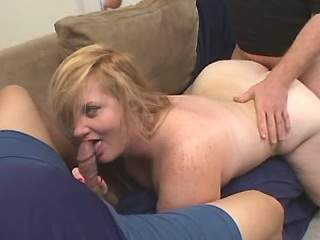 Blond BBW gets fresh cum after anal