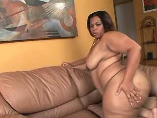 Obese ebony caresses her fat pussy