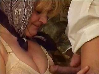 Plump ukrainian granny spoils man