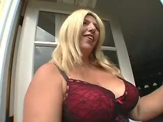 Chubby blonde sucks chocolate cock