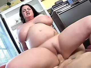 Fat brunette cutie gets cum on big melons