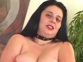 Brunette mature fatty plays with big tits