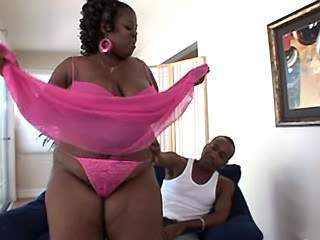 Big ebony mom with huge boobs spoils black guy