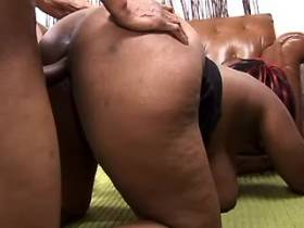 Plump ebony slut swallows hot cumload