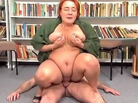 Fat aged librarian gets cum on tits