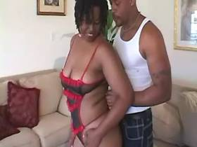 Chubby ebony sucks appetizing cock