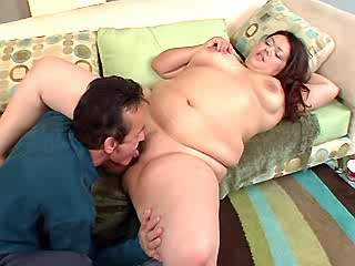 Fat young whore sucks strong cock